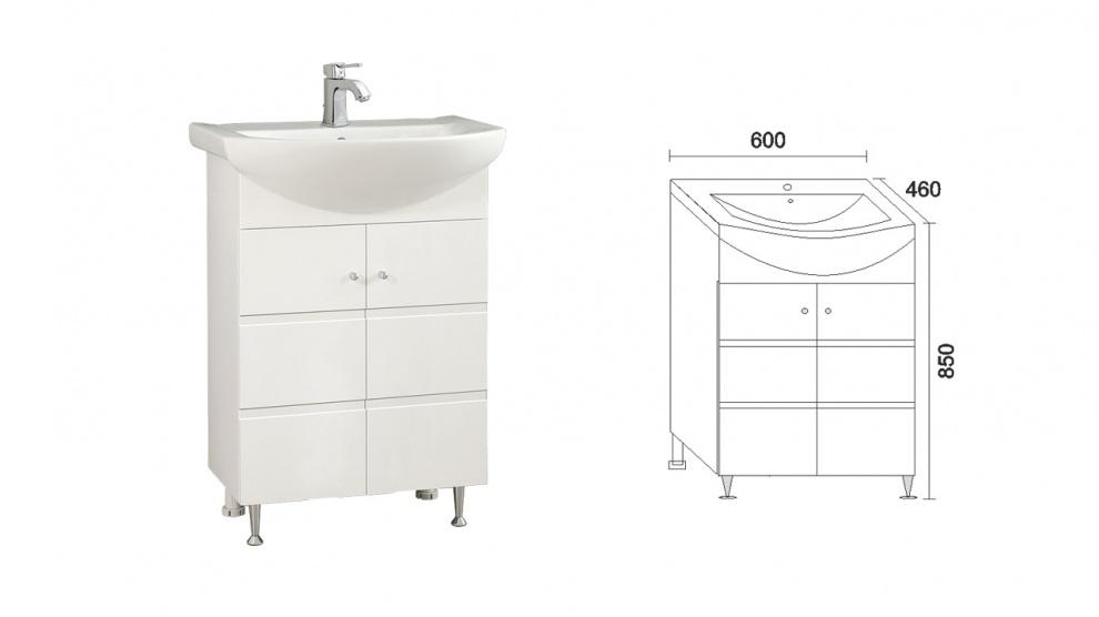 Комплект за баня Емона Долен шкаф за баня Емона