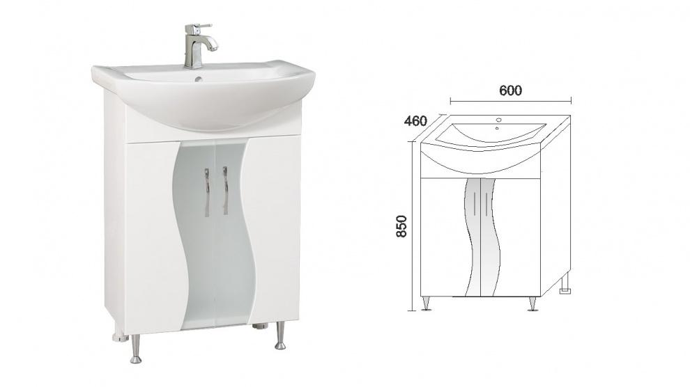 Комплект за баня Мелани Долен шкаф за баня Мелани