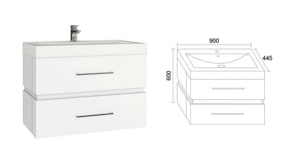 Комплект за баня Степ Долен шкаф за баня Степ